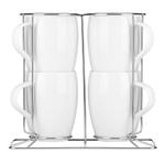 Dansk Classic Fjord 5 Piece White Coffee Mug Set with Rack