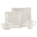 Lenox French Perle Bead White Square 4 Piece Dinnerware Place Setting
