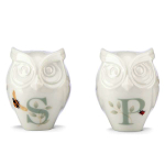 Lenox Butterfly Meadow Figural Owl 2.5 Inch Salt and Pepper Shaker Set