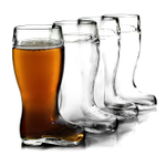 Stolzle Biersiefel 1 Liter Glass Beer Boot, Set of 4