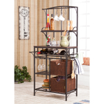Holly & Martin Free-Standing Complete Wine Storage Baker's Rack with Rattan Baskets