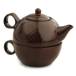 Metropolitan Tea Dark Brown Ceramic 1 Cup Tea For Me Pot and Tea Cup