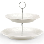 Lenox French Perle White Stoneware 2-Tiered Server