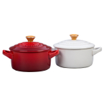 Le Creuset Cerise Cherry and White Stoneware 8 Ounce Mini Round Cocotte with Gold Knob, Set of 2