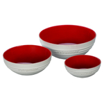 Le Creuset Cerise Cherry and White Stoneware 3 Piece Multi Bowl Set