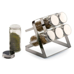 RSVP Chromed Steel Compact Spice Rack with 6 Bottles