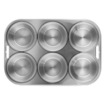 FoxRun Stainless Steel 6 Mold Muffin and Cupcake Pan