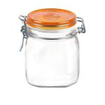 Bormioli Rocco Fido Glass 25.25 Ounce Square Jar with Orange Lid