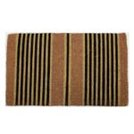 Entryways Black Ticking Stripes Hand-Woven Coir Welcome Mat