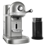 KitchenAid KES0504SR0 Sugar Peal Silver Nespresso Espresso Maker with Aeroccino Milk Frother