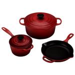 Le Creuset Signature Cherry Enameled Cast Iron 5 Piece Cookware Set