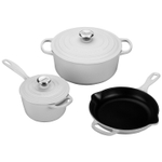 Le Creuset Signature White Enameled Cast Iron 5 Piece Cookware Set