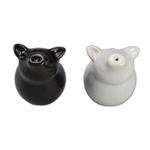 BIA Black and White Porcelain Sitting Pig Salt & Pepper Shaker Set
