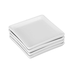 BIA White Porcelain 4.5 Inch Square Appetizer and Dessert Plate, Set of 4