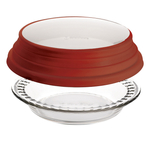 Anchor Hocking Glass 9.5 Inch Deep Pie Plate with Wide Fluted Edge and Red Expandable Cover