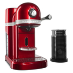 KitchenAid KES0504CA0 Candy Apple Red Nespresso Espresso Maker with Aeroccino Milk Frother