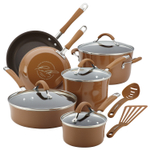 Rachael Ray Cucina Mushroom Brown Hard Enamel Nonstick 12 Piece Cookware Set