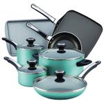 Farberware High Performance Nonstick Aqua 17 Piece Cookware Set