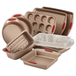 Rachael Ray Cucina Nonstick 10 Piece Bakeware Set with Cranberry Red Handle Grips
