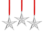 Nambe Silver Plate Mini Star Holiday Ornament, Set of 3