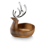 Nambe Wooden and Alloy Reindeer Candy Dish