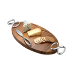 Nambe Infinity Acacia Wood Cheese Board with Knife