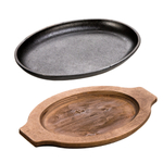 Lodge Cast Iron 10 x 7.5 Inch Oval 2 Piece Serving Griddle with Walnut Stain Wooden Underliner, Set of 2