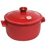 Emile Henry Flame Burgundy Ceramic 7 Quart Round Stewpot