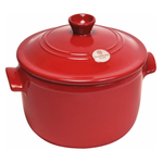 Emile Henry Flame Burgundy Ceramic 5.5 Quart Round Stewpot