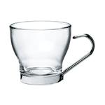 Bormioli Rocco Oslo Glass 3.5 Ounce Espresso Mug with Stainless Steel Handle