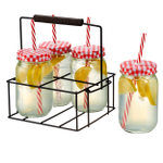 Artland Gingham 13 Piece Sipper Bottle Set with Caddy