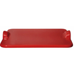 Emile Henry Burgundy Ceramic 18 x 14 Inch Large Rectangular Pizza and Baking Stone