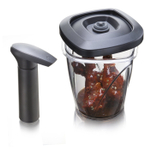 Tomorrow's Kitchen Black 1.3 Quart Medium Vacuum Seal Instant Marinating Container with Pump