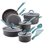 Rachael Ray Cucina Agave Blue Hard-Anodized Nonstick 12 Piece Cookware Set