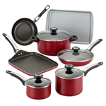 Farberware High Performance Nonstick Red 17 Piece Cookware Set