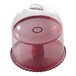 Nordic Ware Red 2-Tiered Dessert Stand with Dome Lid