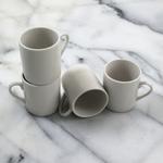 White Ceramic Espresso Mugs, Set of 4