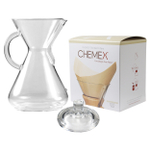 Chemex Glass 50 Ounce Coffee Maker with Cover and 100 Count Bonded Unbleached Pre-Folded Square Coffee Filters