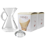 Chemex Glass 50 Ounce Coffee Maker with Cover and 200 Count Bonded Unbleached Pre-Folded Square Coffee Filters