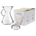 Chemex Glass 50 Ounce Coffee Maker with Cover and 200 Count Oxygen Cleansed Bonded Square Coffee Filters