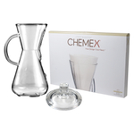 Chemex Glass 15 Ounce Coffee Maker with Cover and 100 Count Bonded Half Circle Coffee Filters