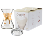 Chemex Wood Collar and Tie Glass 30 Ounce Coffee Maker with Cover and 200 Count Oxygen Cleansed Bonded Square Coffee Filters