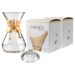 Chemex Classic Wood Collar and Tie Glass 40 Ounce Coffee Maker with Cover and 200 Count Bonded Unbleached Pre-Folded Square Coffee Filters