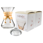 Chemex Classic Wood Collar and Tie Glass 30 Ounce Coffee Maker with Cover and 200 Count Bonded Circle Coffee Filters