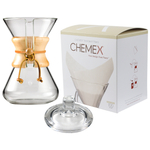 Chemex Classic Wood Collar and Tie Glass 30 Ounce Coffee Maker with Cover and 100 Count Oxygen Cleansed Bonded Square Coffee Filters
