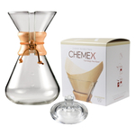 Chemex Wood Collar and Tie Glass 65 Ounce Coffee Maker with Cover and 100 Count Bonded Unbleached Pre-Folded Square Coffee Filters