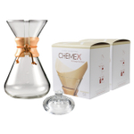 Chemex Wood Collar and Tie Glass 65 Ounce Coffee Maker with Cover and 200 Count Bonded Unbleached Pre-Folded Square Coffee Filters