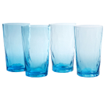 Artland Ripple Turquoise 19 Ounce Highball Glass, Set of 4