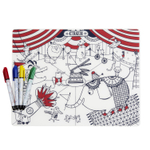 Modern Twist Mark-Mat Circus 12 x 16 Inch Markable Placemat with 4 Markers