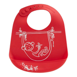 Modern Twist Monkey Business Red Silicone Bucket Bib
